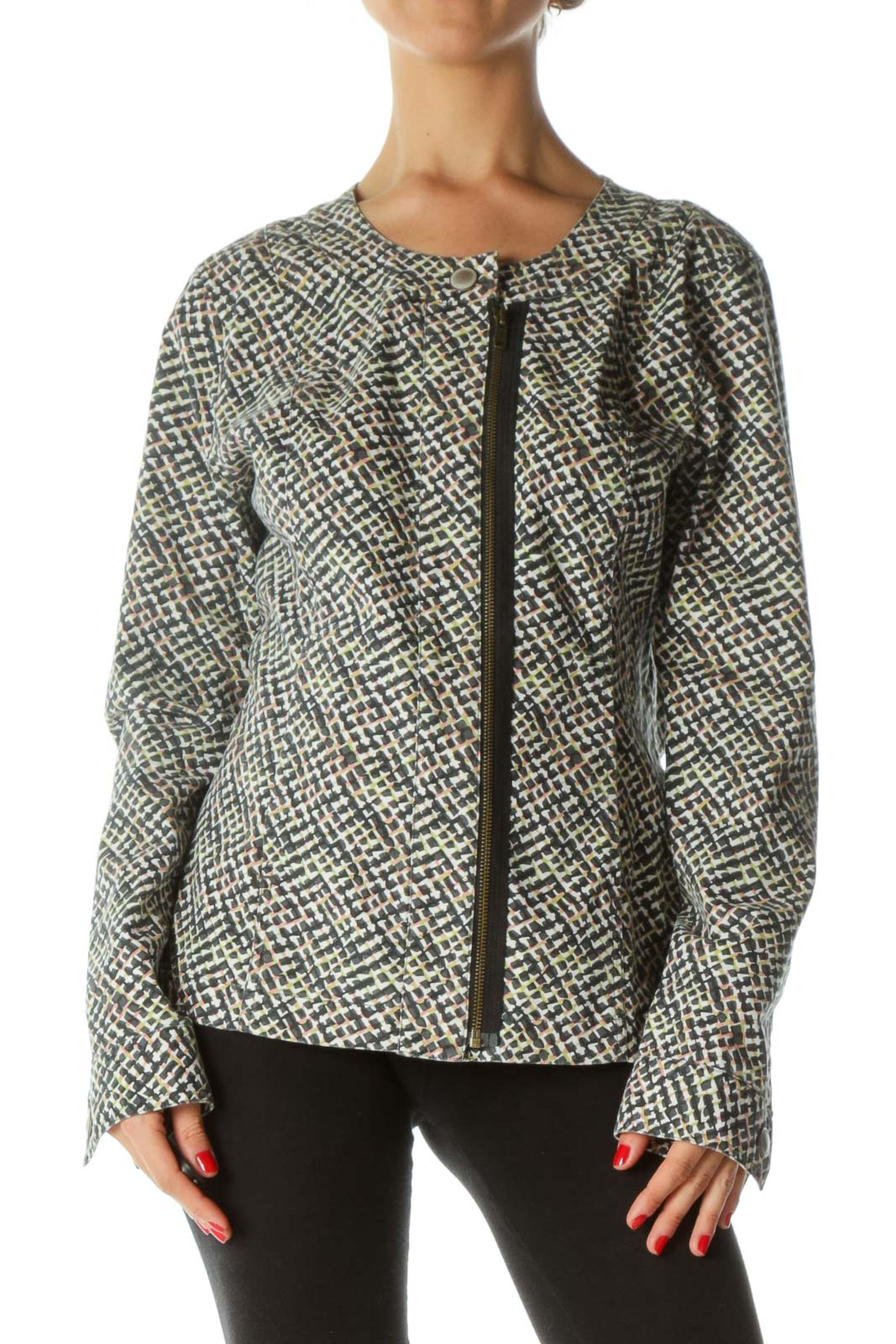 Multicolored Print Round Neck Snap-Button Light-Denim-Feel Pocketed Jacket