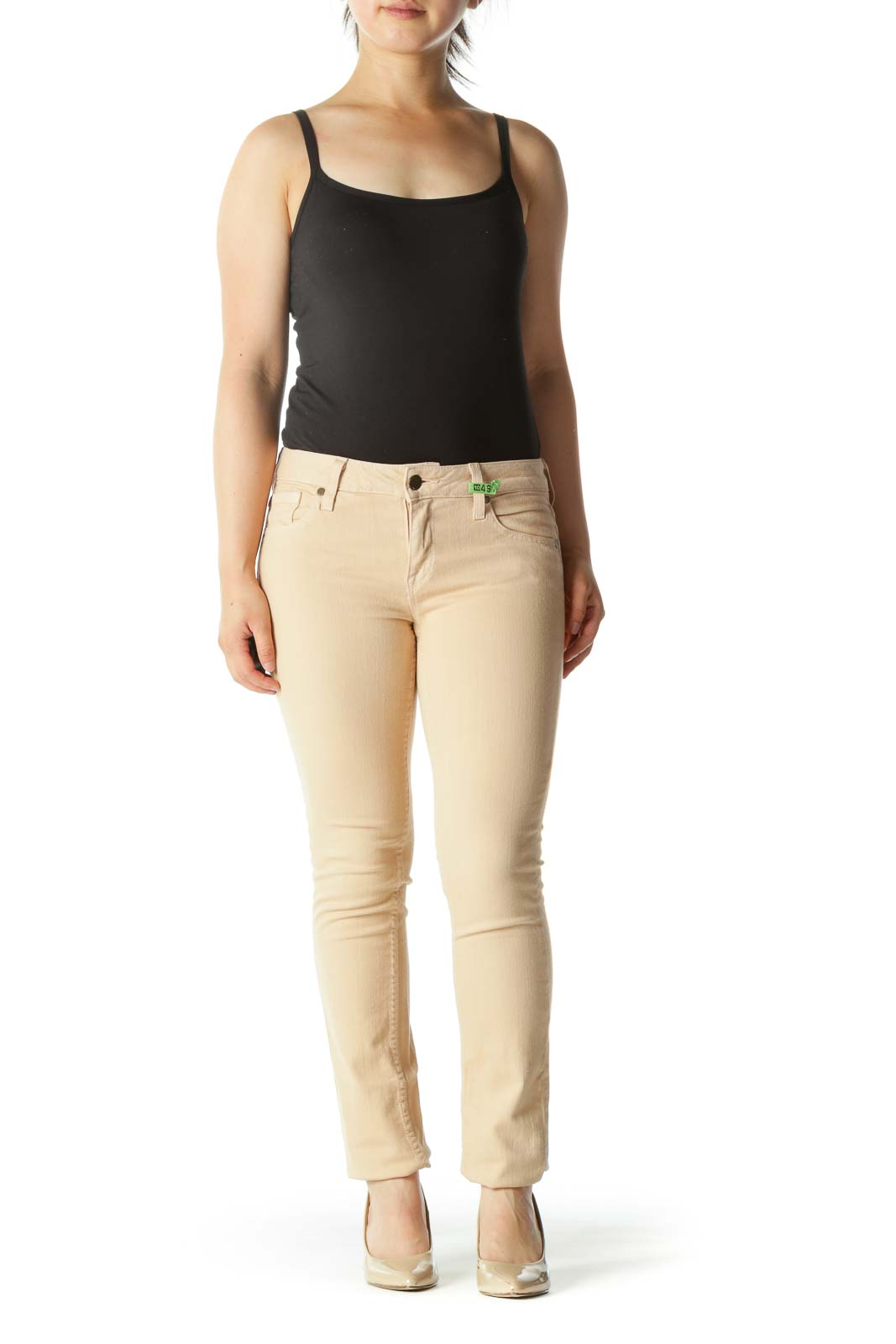 Light Peach Stretch Slim-Fit Pants
