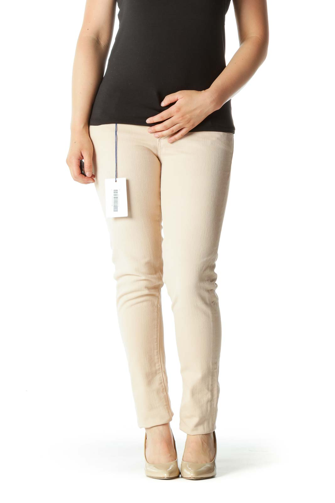 Light Peach-Pink Cotton Blend Stretch Skinny Pants