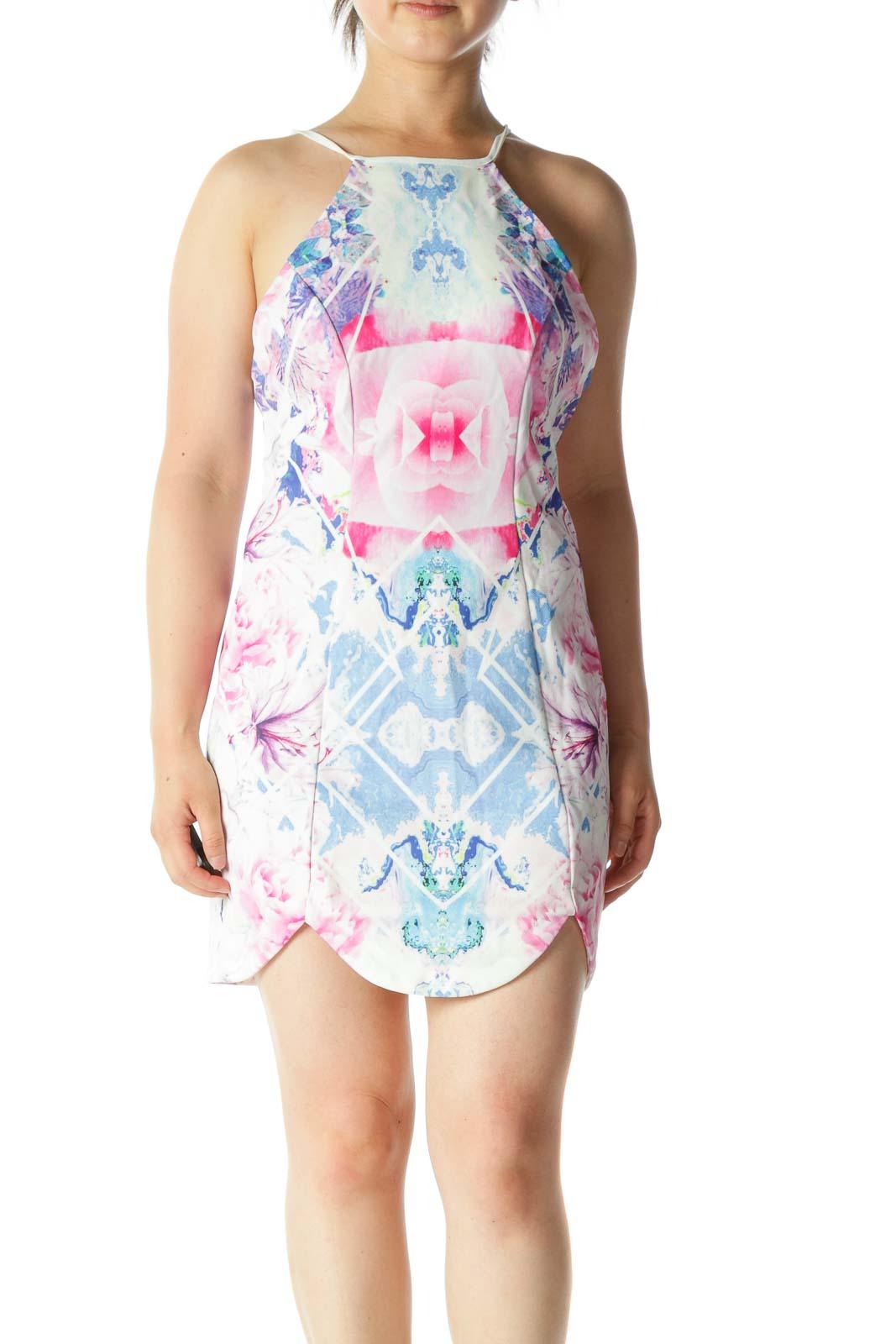 Pink Blue Floral Print Open Back Mini Dress