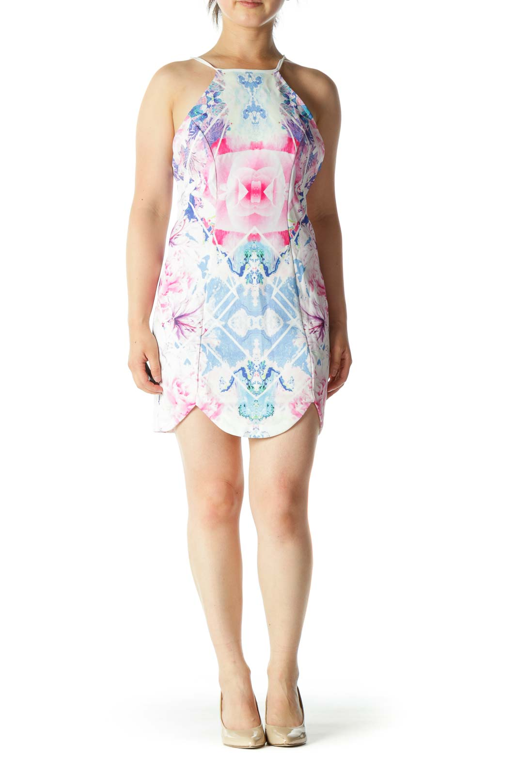 Pink Blue Floral Print Open Back Mini Dress