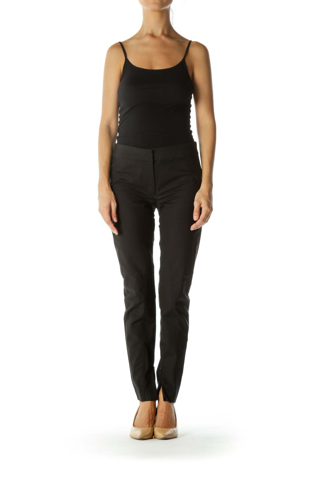 Black Cotton Blend Scuba Style Zippered Ankles Detail Pants