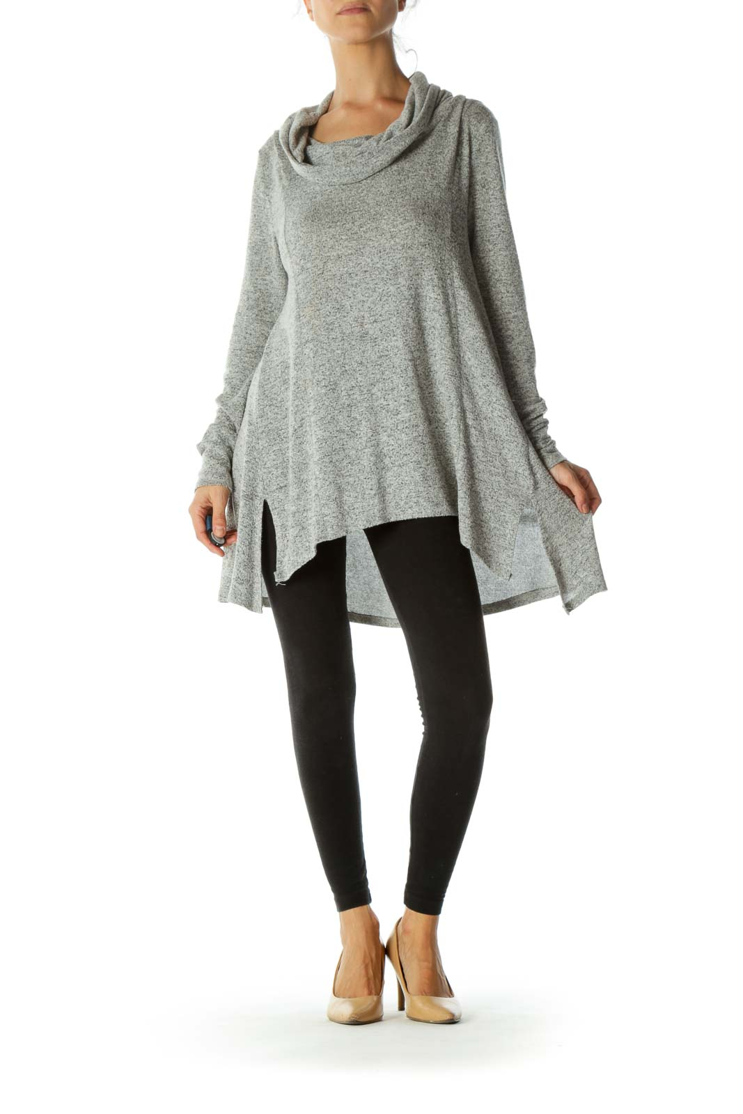 Gray Mottled Print Cowl Neck Soft Long Sleeve Sweater