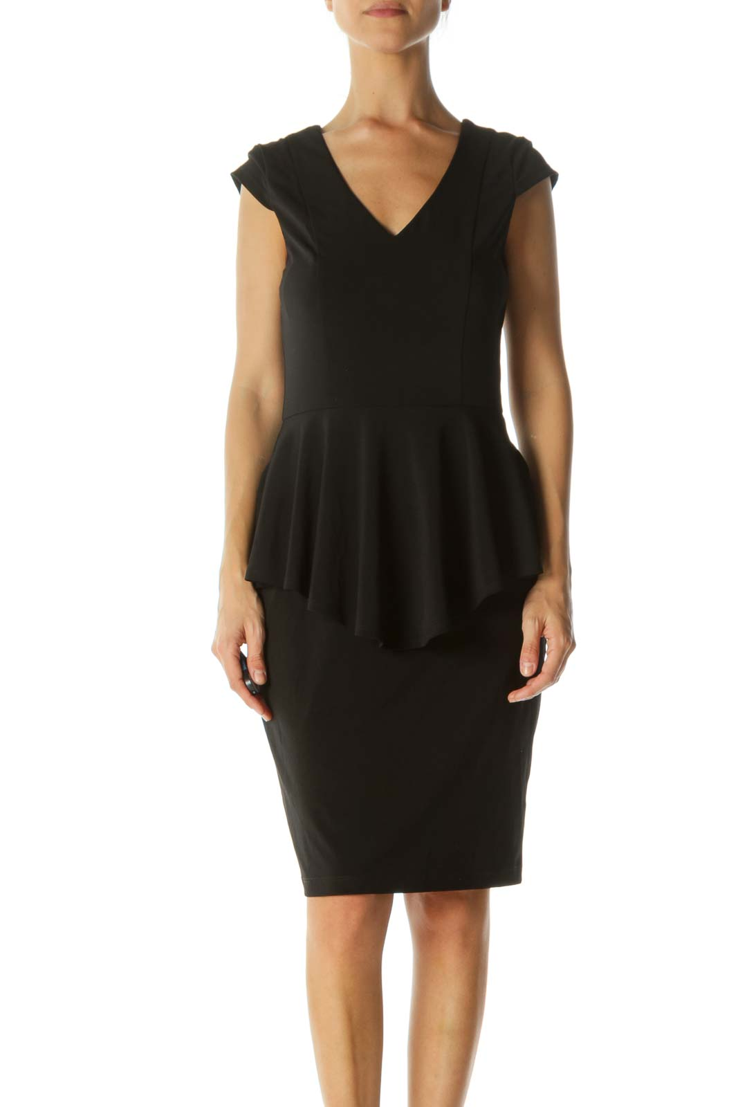 Black Ruffled Fitted Midi Dress