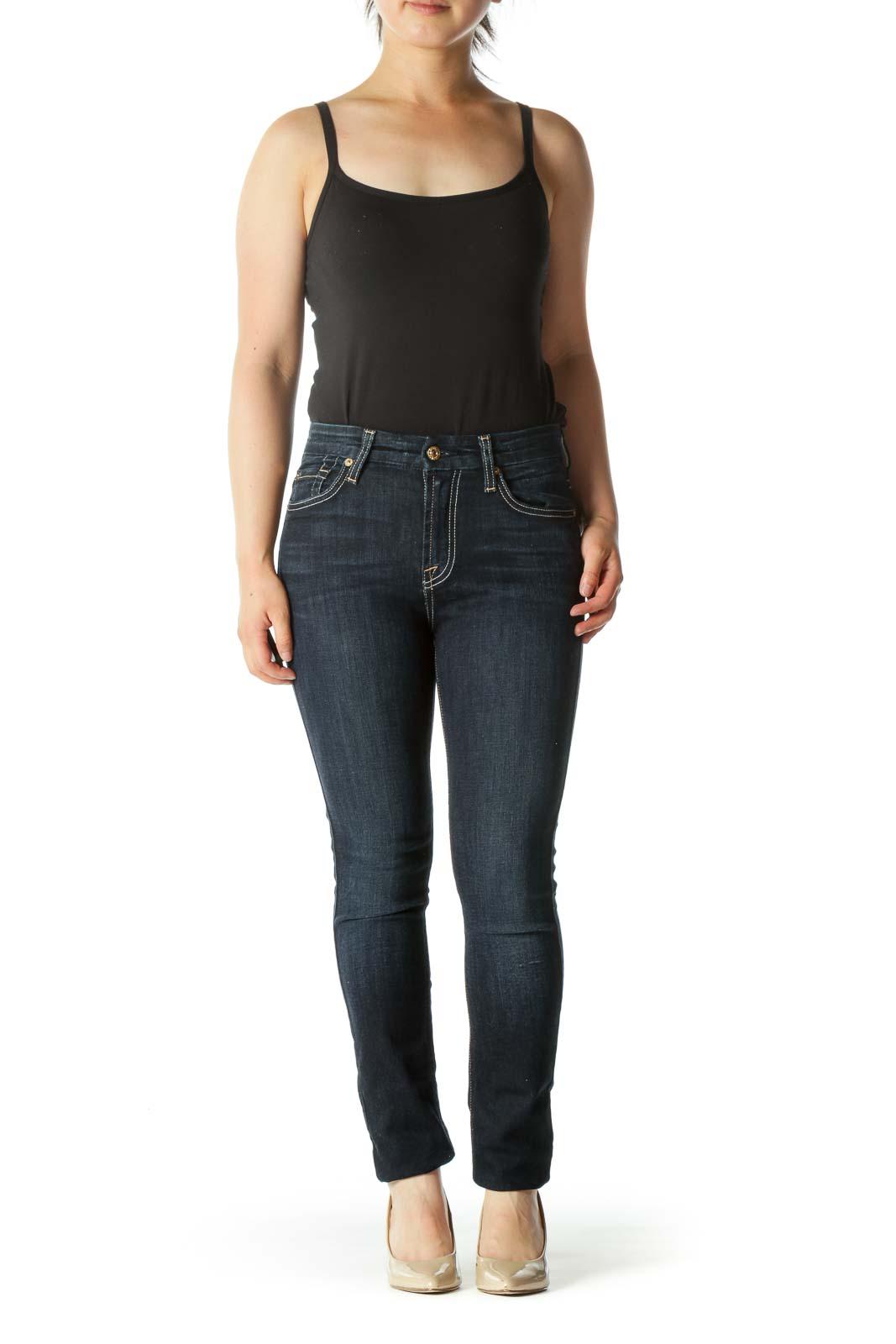 Blue Dark-Wash Stretch Skinny Jeans
