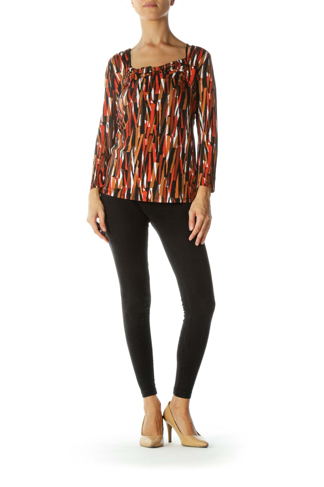 Black and Orange Long Sleeve with Geometric Design