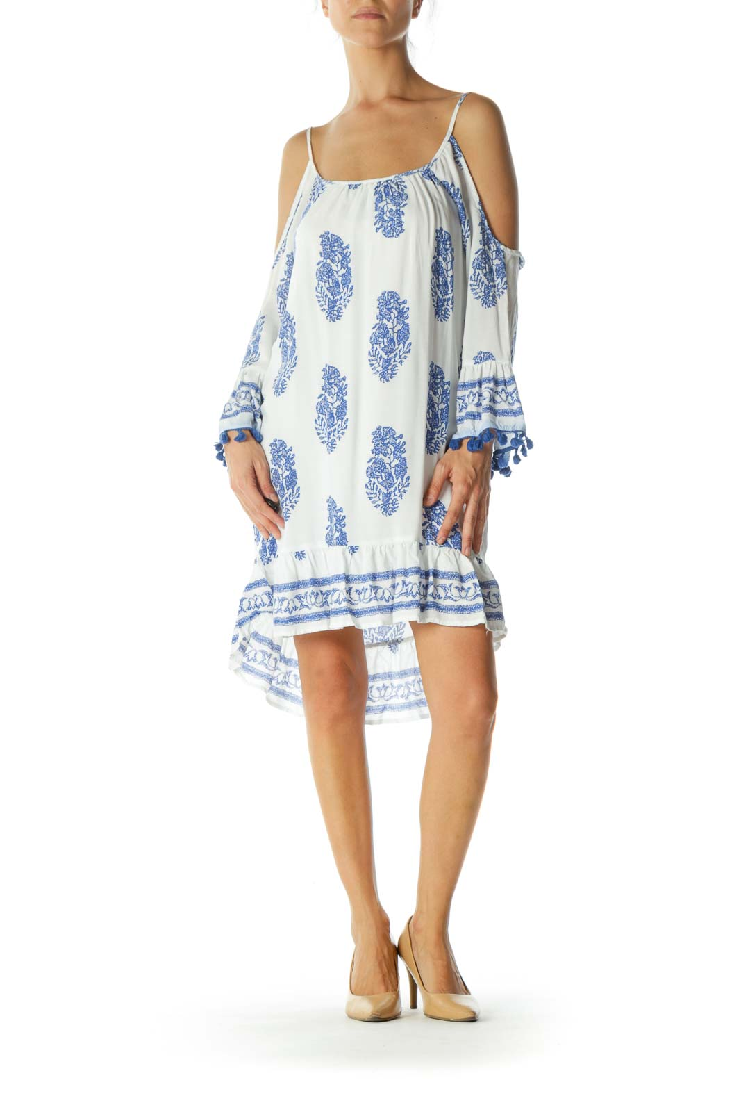 White Blue Pattern Relax Beach Dress
