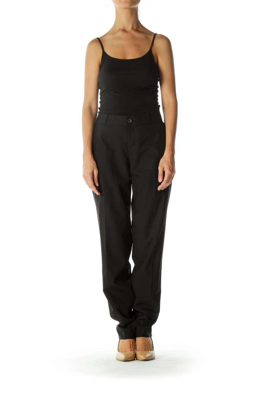 Black Single-Button Closure Pocketed Stretch Slacks (Long)