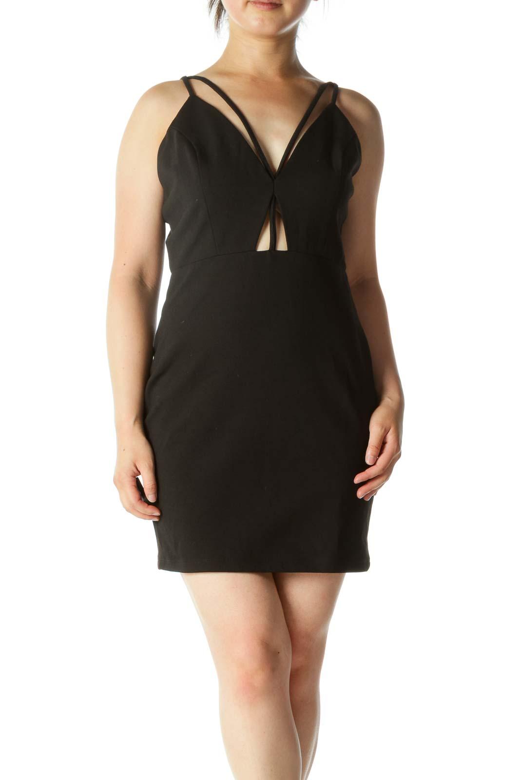 Black V-Neck Fitted Mini Dress