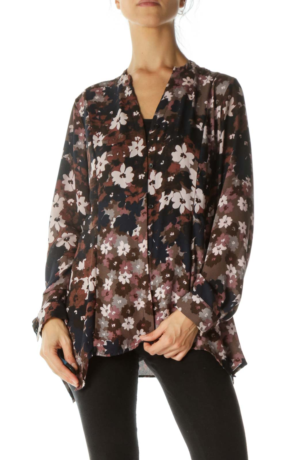 Brown and Purple Floral Button Down