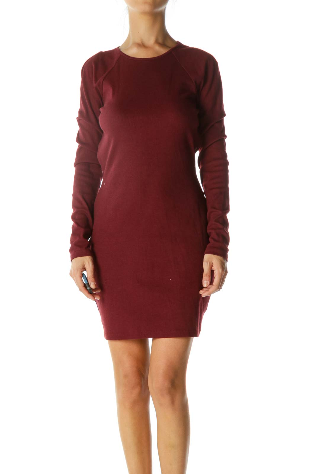 Burgundy Open-Back Long Sleeve Stretch Dress