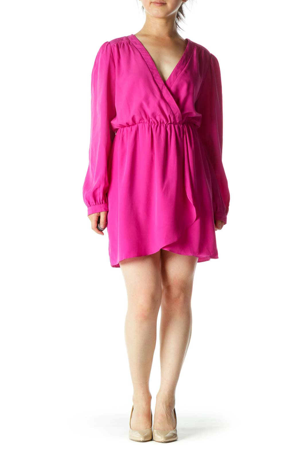 Magenta Wrap Mini Dress