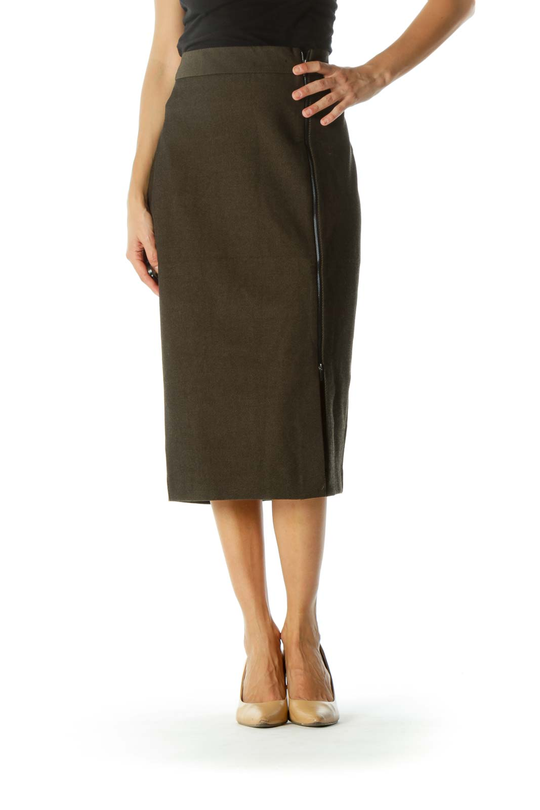 Black Olive Green Zipper Detail Pencil Textured Midi Skirt