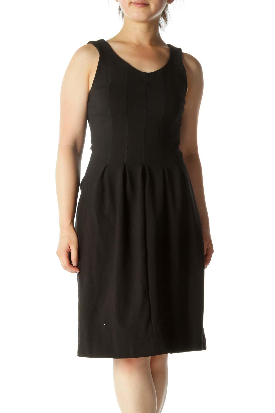 Black Round Neck Stretch Pleating Detail Dress