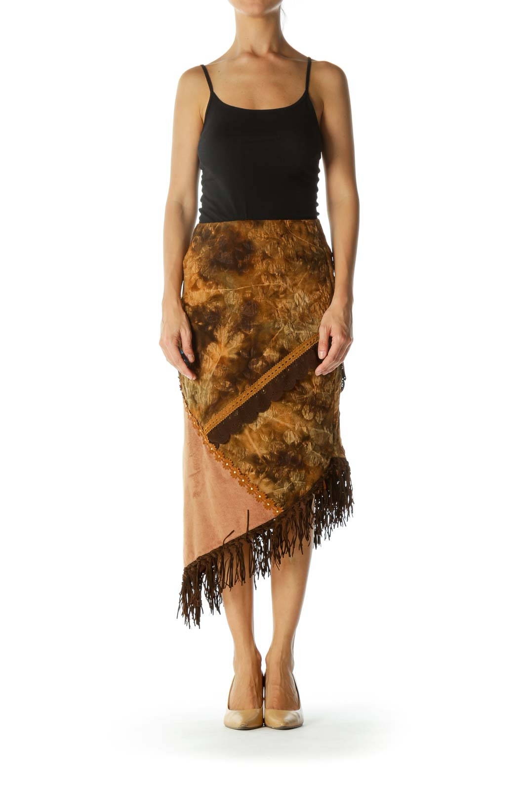Brown Beige Fringe Floral Jacquard Faux-Suede Mixed-Media Stretch Asymmetrical Skirt