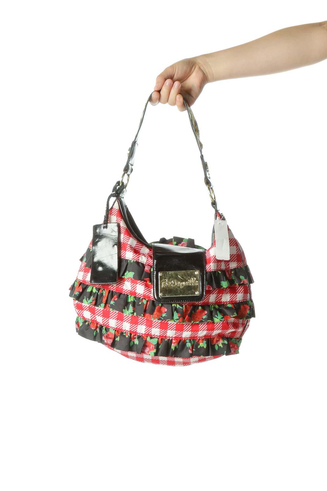 Red Printed Ruffle Shoulder Bag