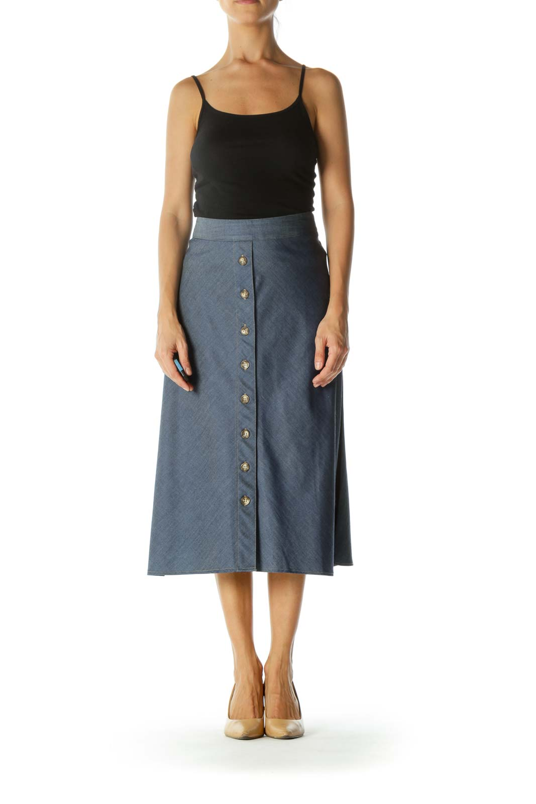 Blue Buttoned Flared Midi Skirt