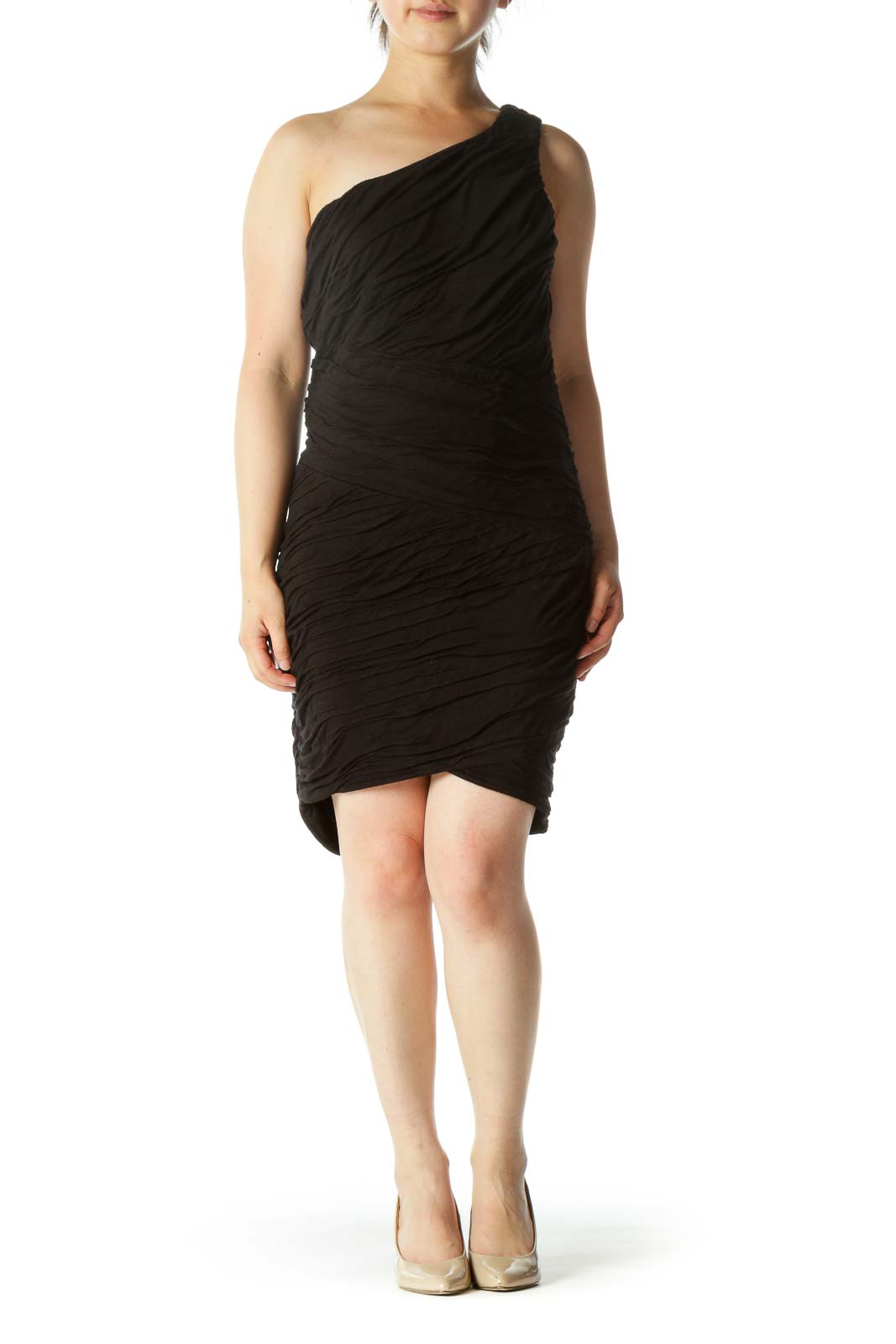 Black One Shoulder Ruched Fitted Dress