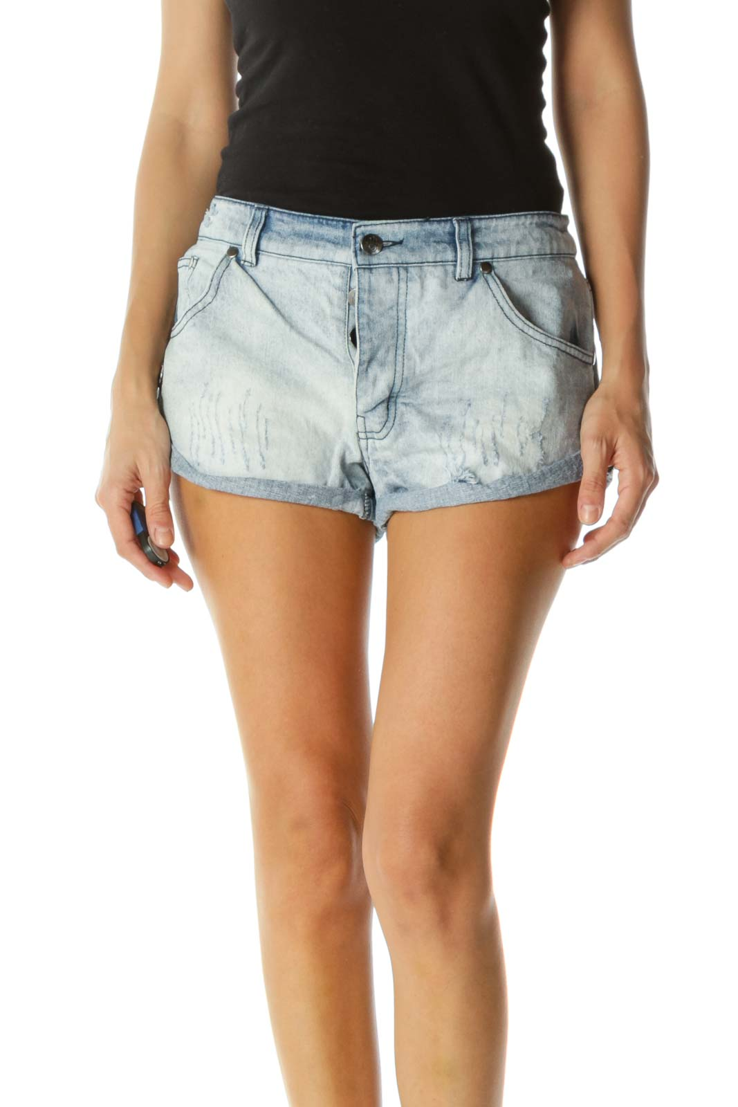 Blue Light-Wash 100% Cotton Distressed Peace Applique Buttoned-Fly Denim Shorts