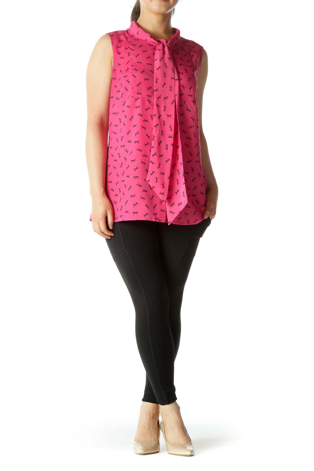 Pink Sleeveless Tunic with Bow Pattern