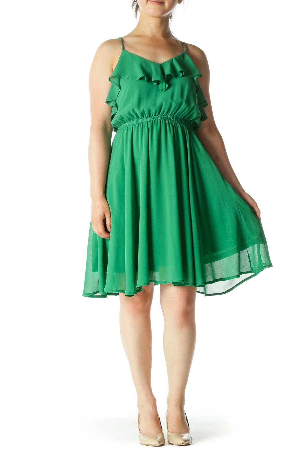Green Ruffle Chiffon Midi Dress