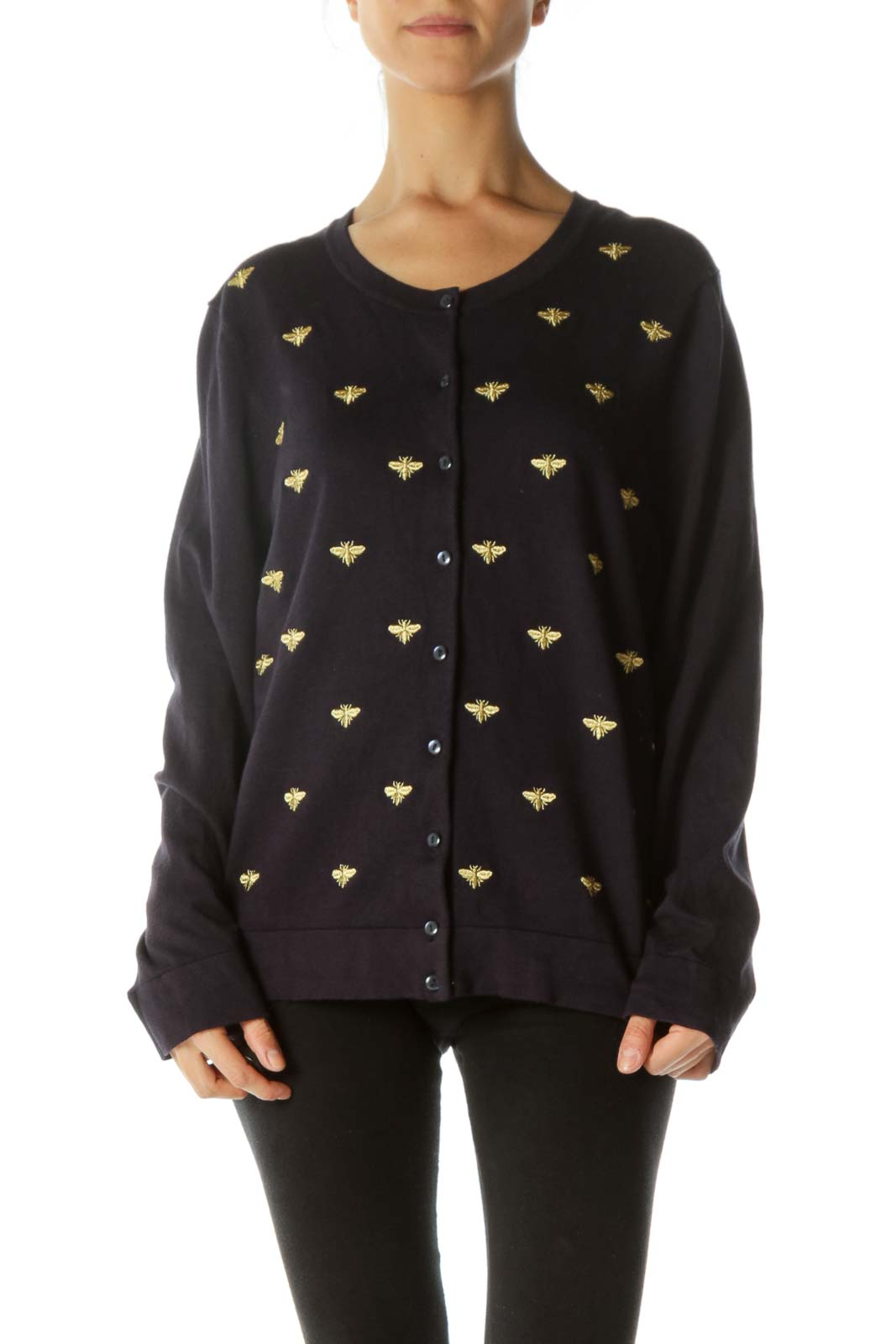 Navy Cardigan with Gold Bug Embroidery