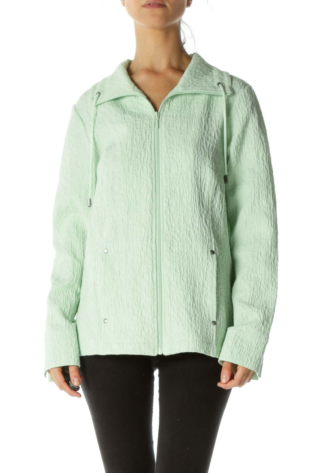 Mint Green Jacquard Drawstring Zippered Pocketed Jacket