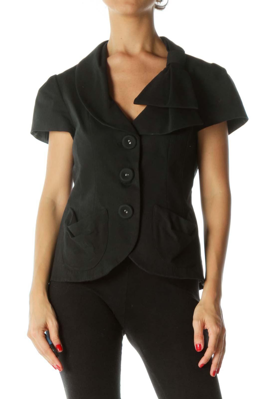 Black V-Neck Fabric-Buttons Bow-Shoulder Detail Textured Short-Sleeve Blazer
