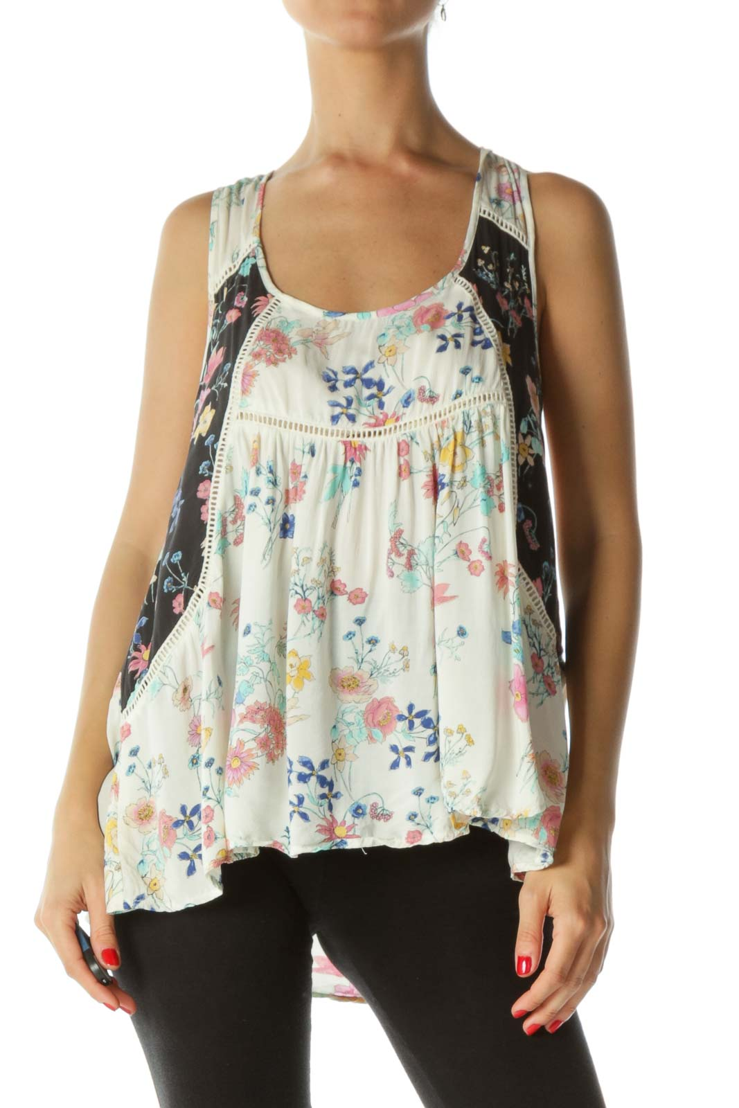 Beige Multicolor  Crocheted Floral Tank Top