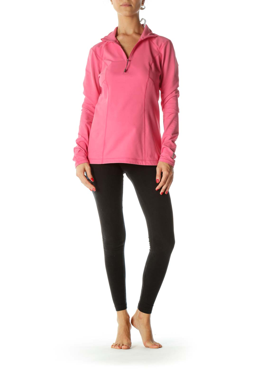 Pink Zippered Sport Long Sleeves Top