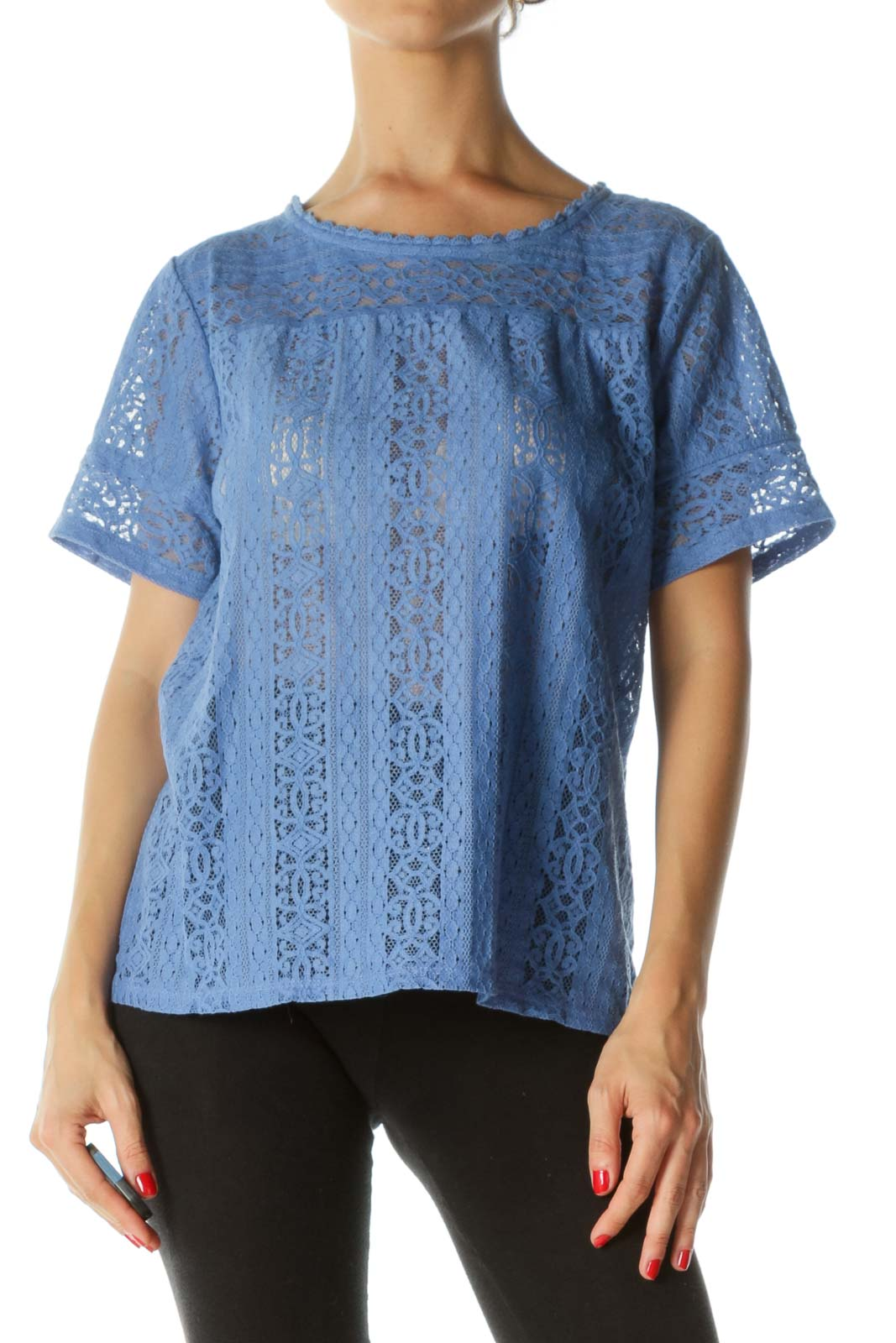 Blue Embroidered Lace Top