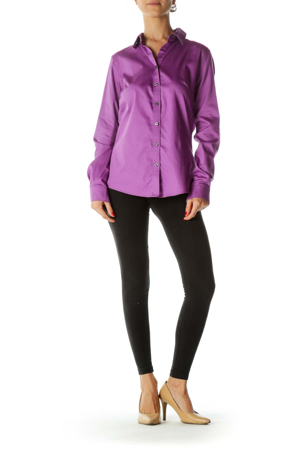 Purple Button-Down Blouse