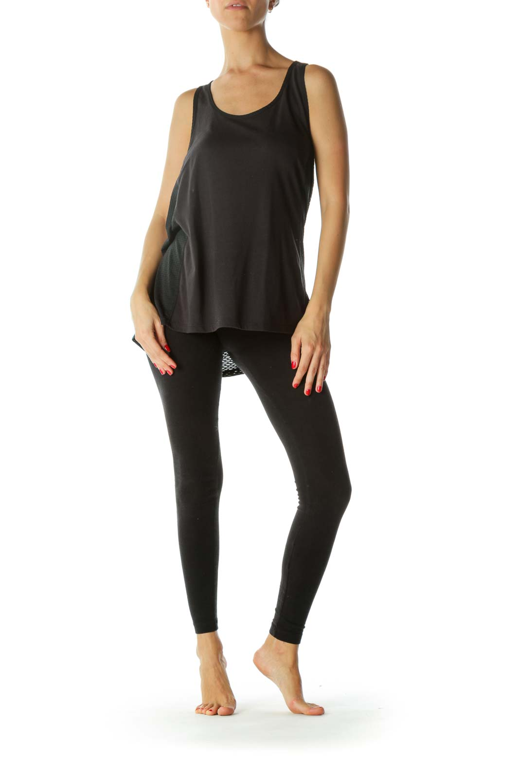Black Cross Back Sporty Tank Top