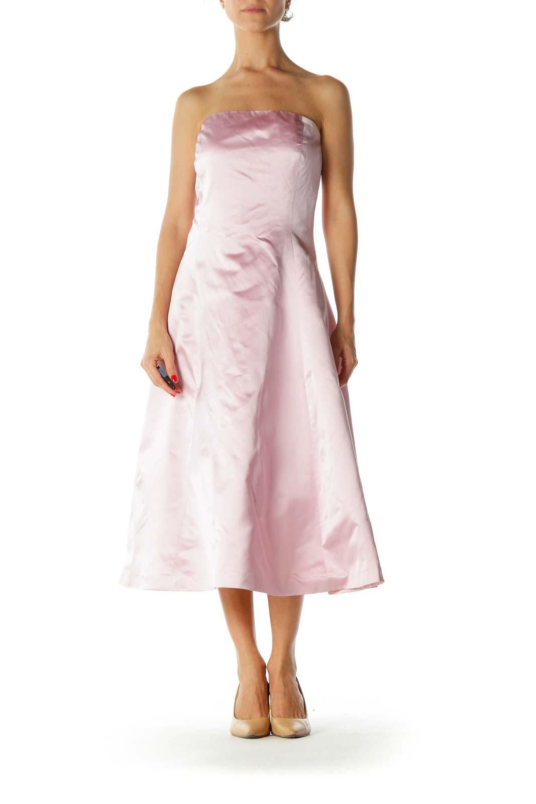 Pink Silk Strapless Evening Dress