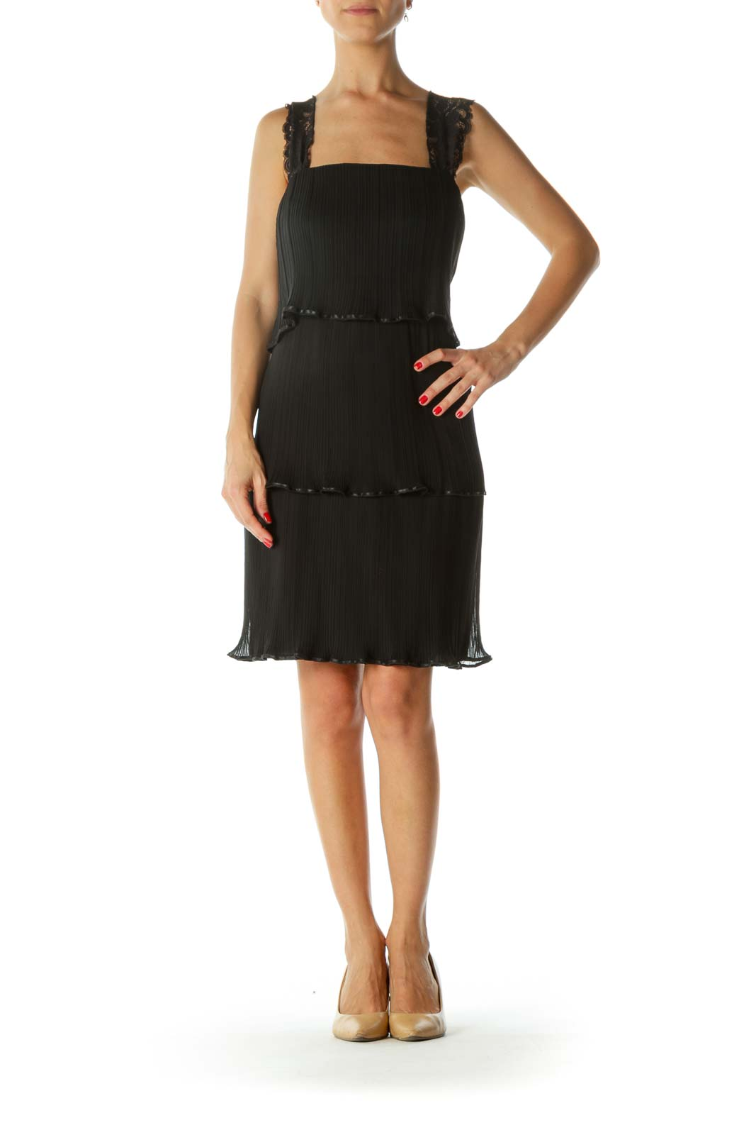 Black Delicate Lace Ruffled Dress
