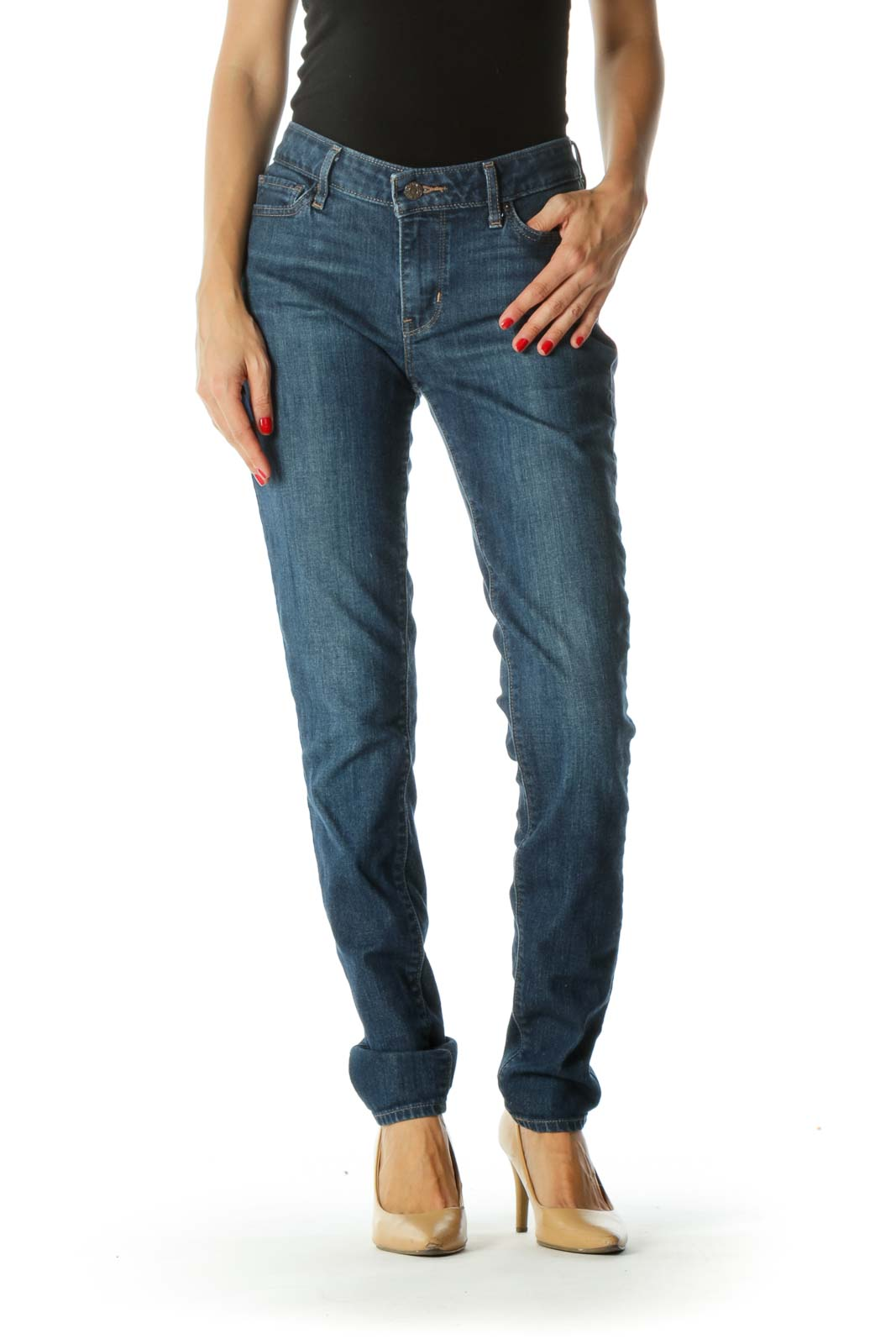 Blue Medium-Wash Stretch Skinny Jeans