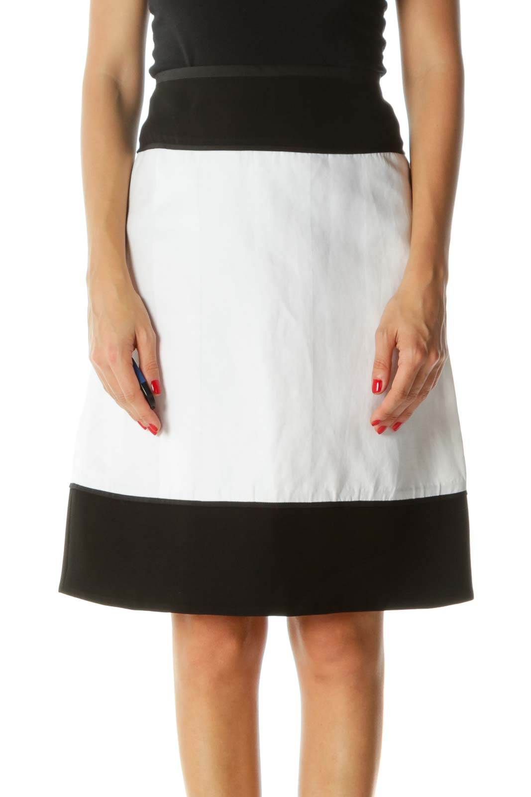 White Black Wool and Cotton Mixed Media A-Line Designer Skirt
