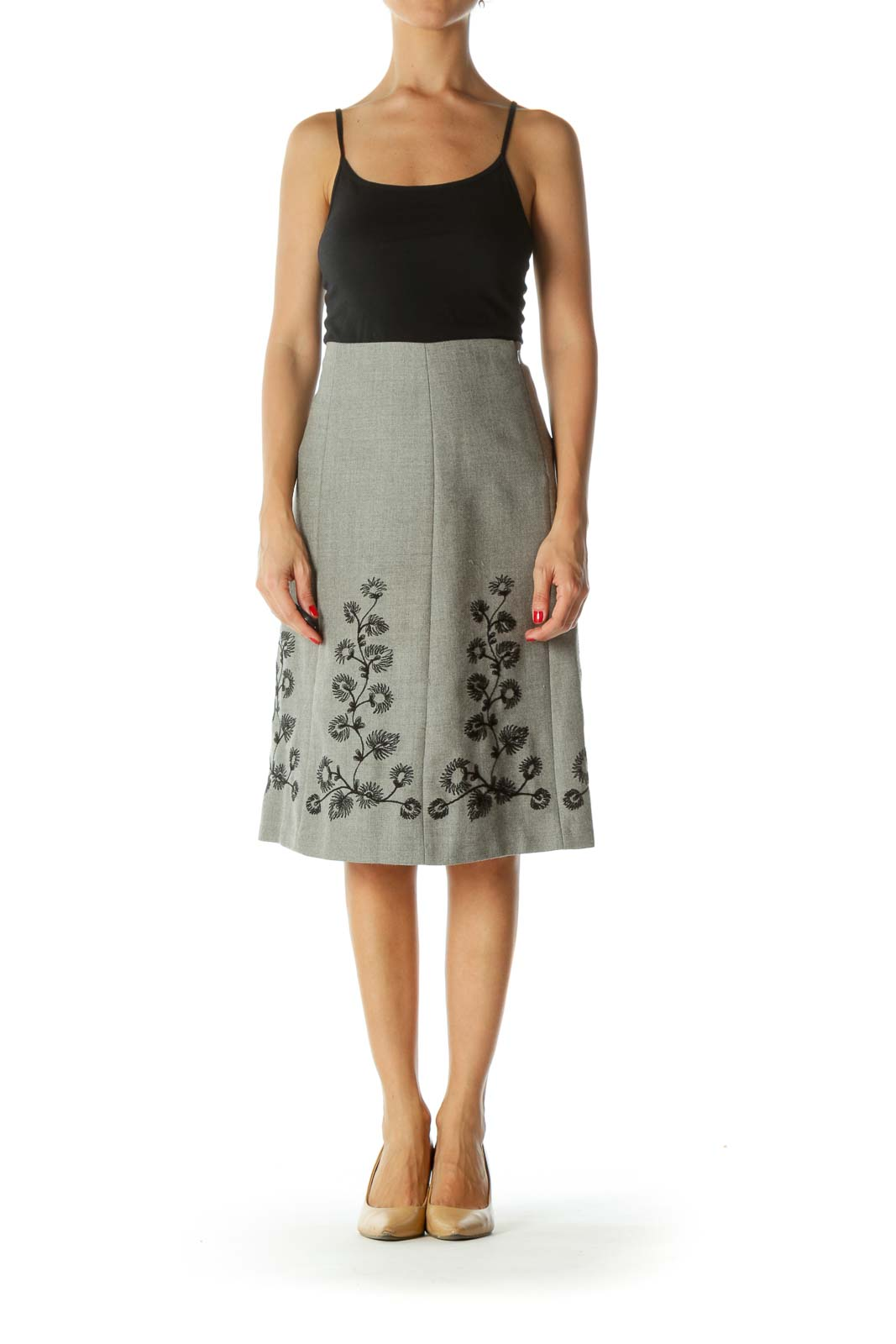 Gray Black Wool Floral Embroidery Cinched-Waist A-Line Skirt