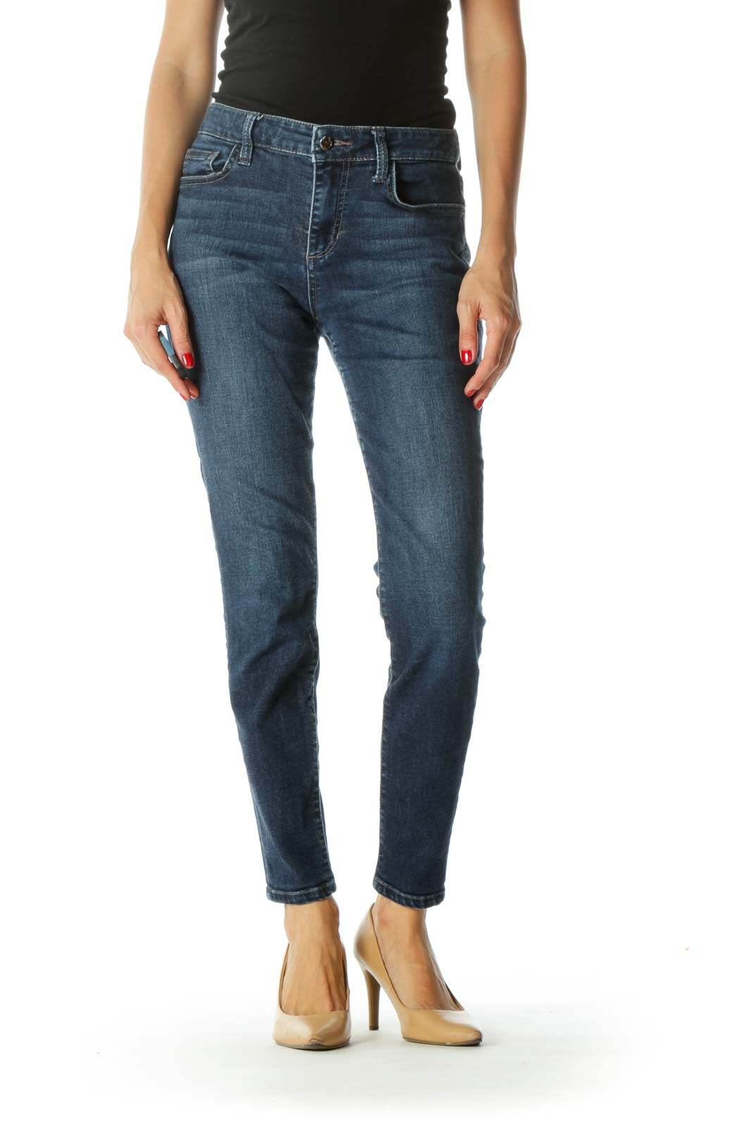 Blue Medium-Wash Stretch Slim-Fit Jeans