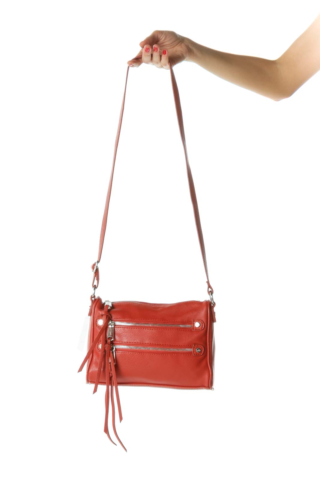 Burnt Orange Zippered Tassels Crossbody Bag