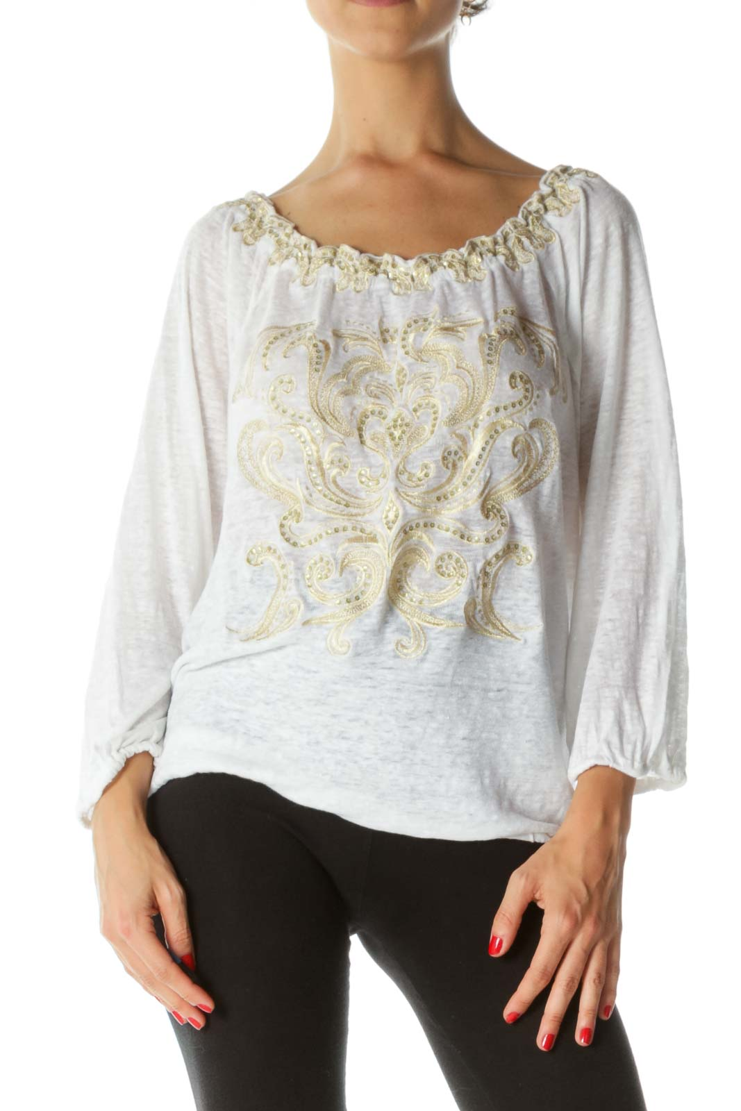 White Gold Linen Blend Sequined Embroidered Elastic Detail Knit Top