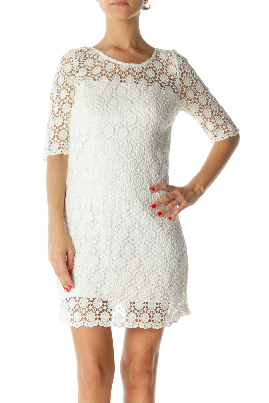 White 100% Cotton Round-Neck 3/4 Sleeve Floral-Knit Dress