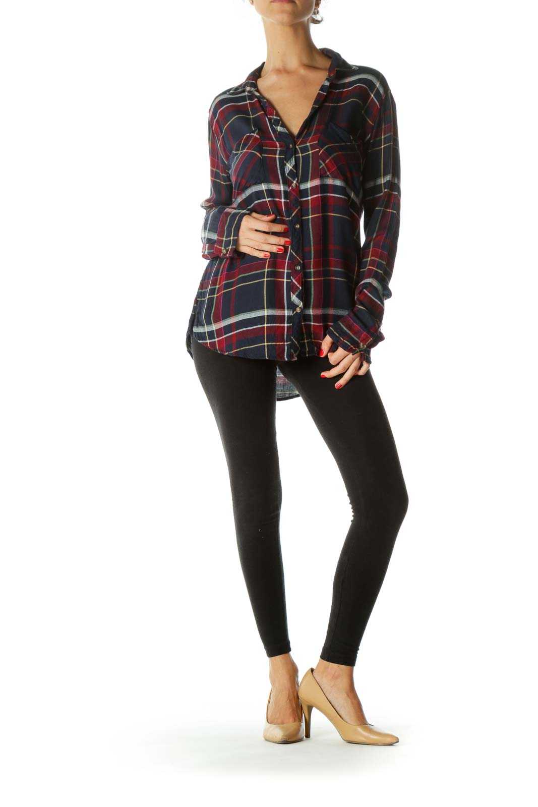 Multicolored Plaid Buttoned Long-Sleeve Pocketed Shirt