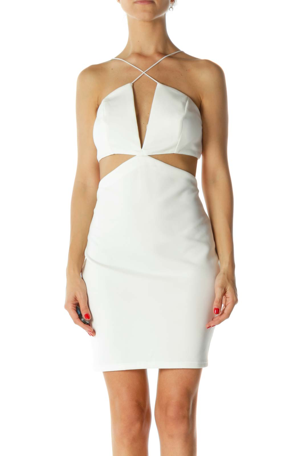 White V-Neck Structured-Upper Cut-Out Cocktail Dress
