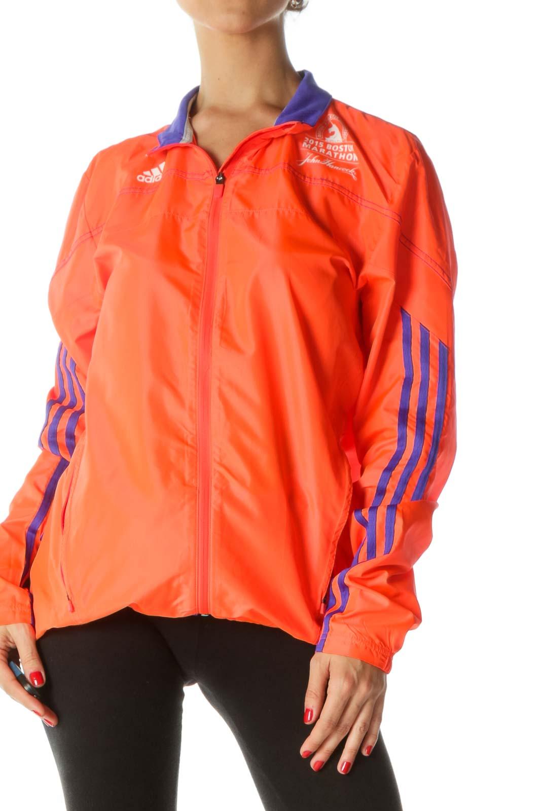 """Neon Orange Purple """"2015 Boston Marathon"""" Running Light Jacket"""