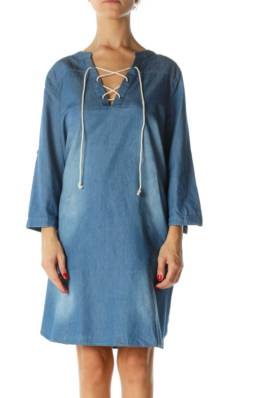 Blue Medium-Wash 3/4-Roll-Up-Sleeves Denim-Look Crisscross Day Dress