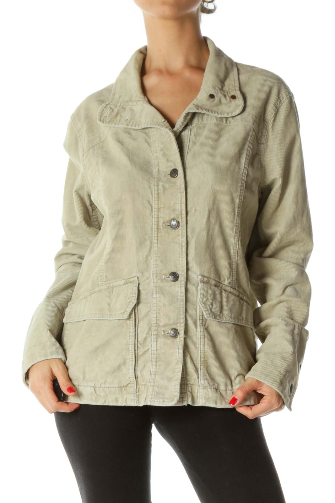Beige Metal Buttons Pocketed Corduroy Jacket