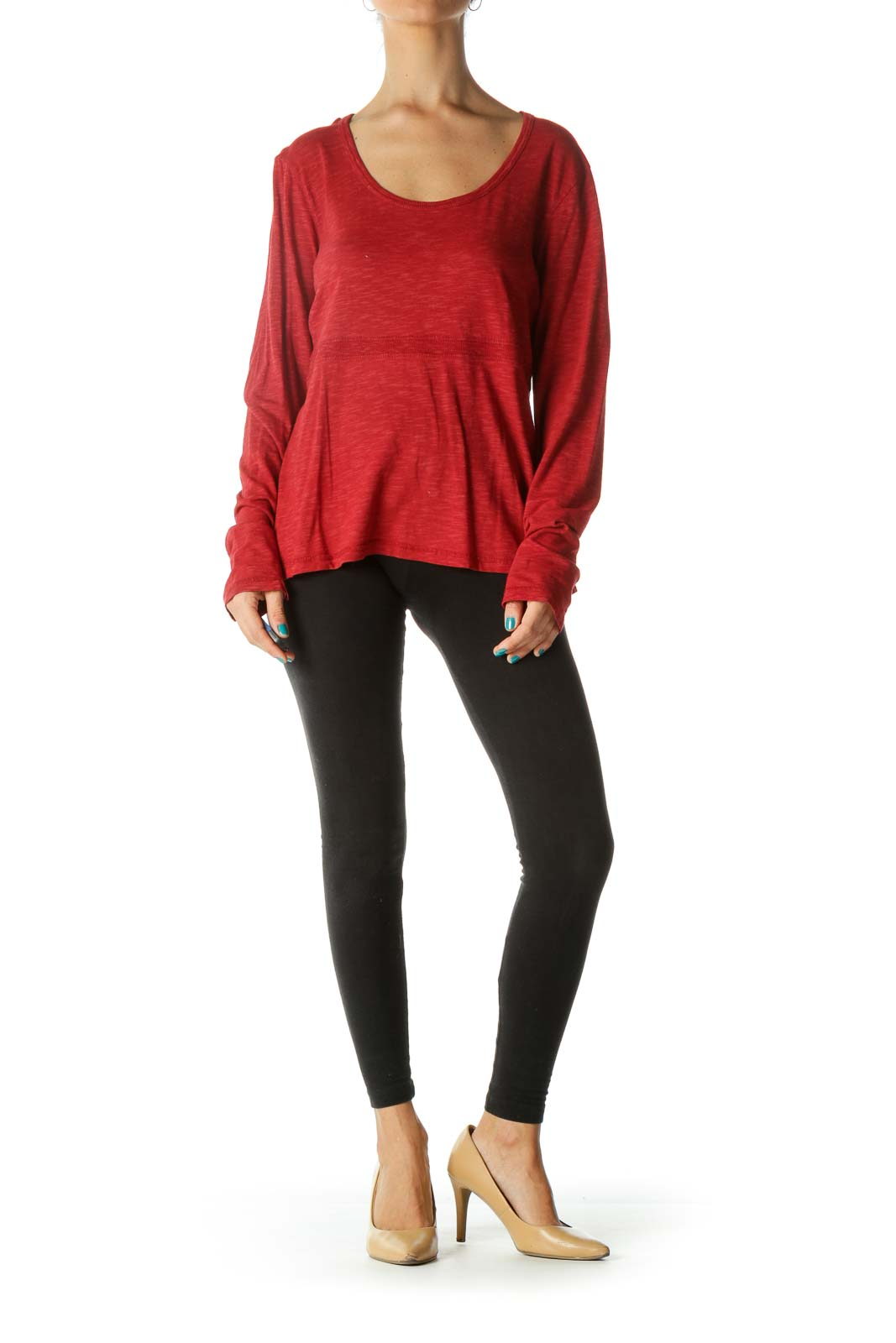 Red Round Neck Long Sleeve Shirt
