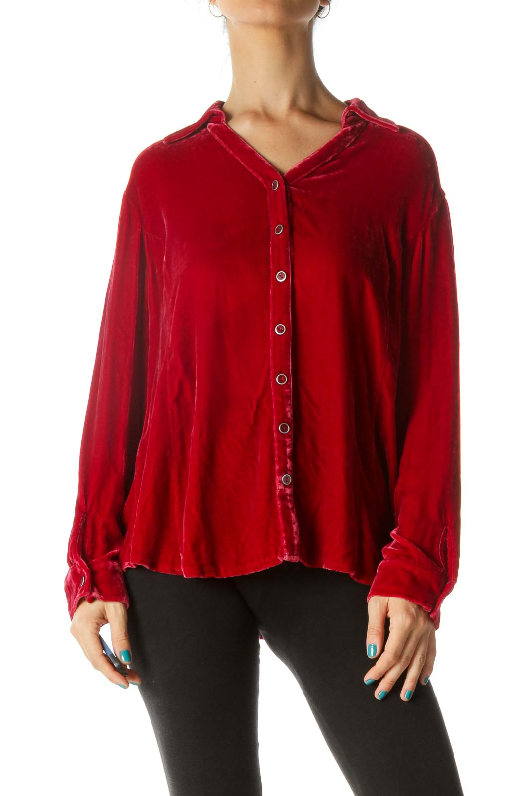 Red Velvet Collared Button-Up Blouse