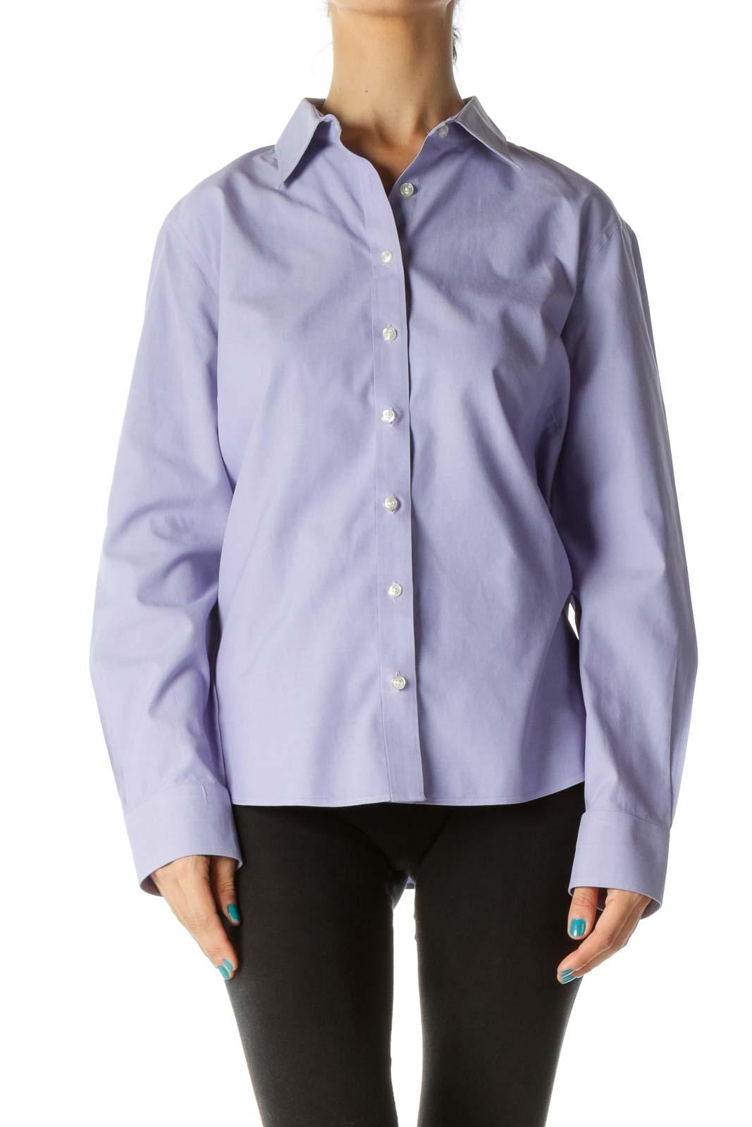 Purple Button-Up Cotton Shirt
